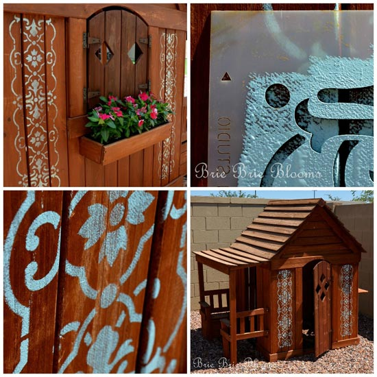 Stenciling Kids Dollhouse via Brie Brie Blooms | Granada Border Stencil by Royal Design Studio