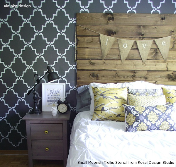 Stenciling_on_Bedroom_Accent_Wall