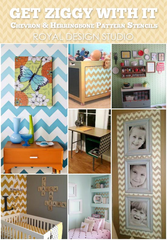 Stencil projects with Chevron and Herringbone pattern | Royal Design Studio Stencils