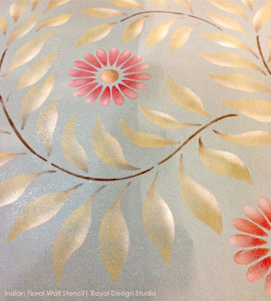 Stenciled Floor Cloth via The Empty Nest | India Floral Wall Stencil by Royal Design Studio