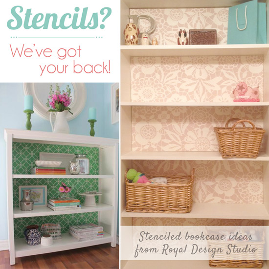Stenciled Bookcase Weve Got Your Back
