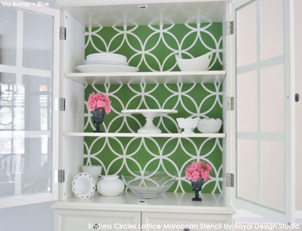 Cabinet Makeover via Ladies Home Journal | Endless Circles Lattice Moroccan Stencil by Royal Design Studio
