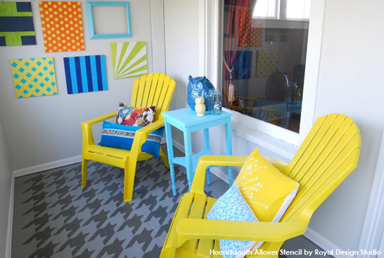 Painted & Stenciled Floor Ideas | Houndstooth Stencil by Royal Design Studio