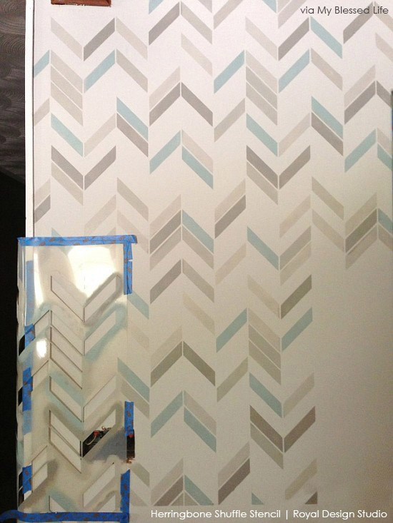 Feature Wall | Herringbone Shuffle Stencil by Royal Design Studio