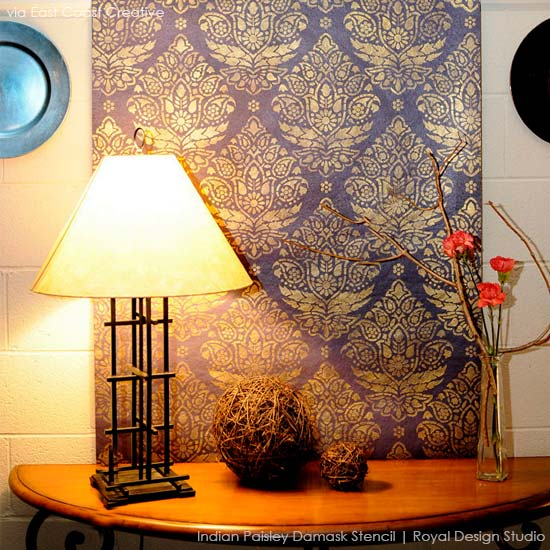 Stenciled Art Backdrop via East Coast Creative | Indian Paisley Damask Stencil by Royal Design Studio