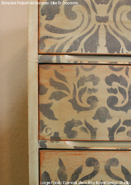 A Dressy Damask Dresser | Large Fabric Damask Stencil by Royal Design Studio