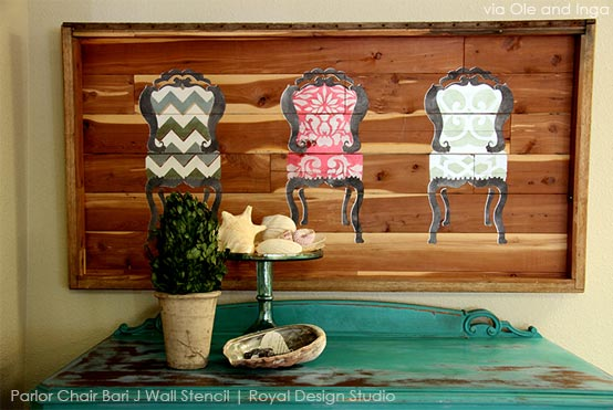 Parlor Chair Wall Art via Ole and Inga | Parlor Chair Bari J Wall Stencil by Royal Design Studio