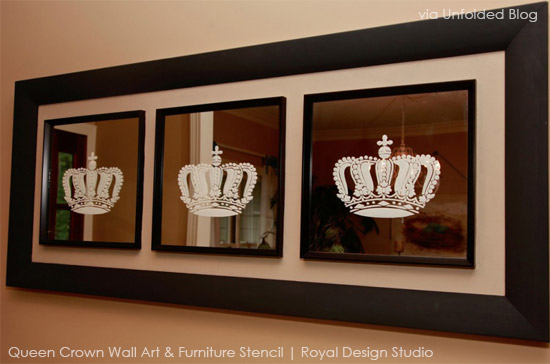 Framed Mirro Artwork | Queen Crown Wall & Furniture Stencil by Royal Design Studio