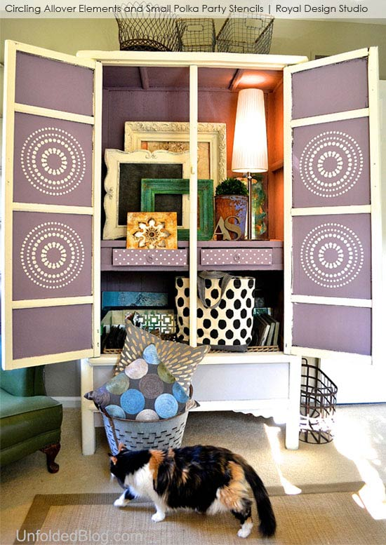 Stenciled Cabinet via Unfolded Blog | Circling Allover Elements Stencil by Royal Design Studio