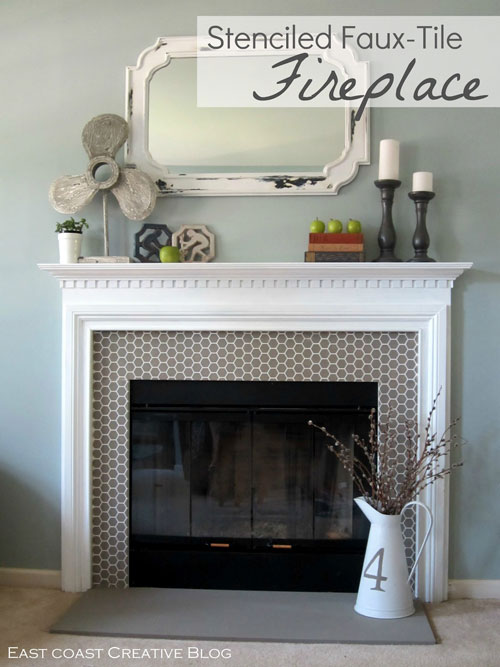 stenciled-faux-tile-fireplace
