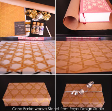 stenciling-gift-wrap-paper