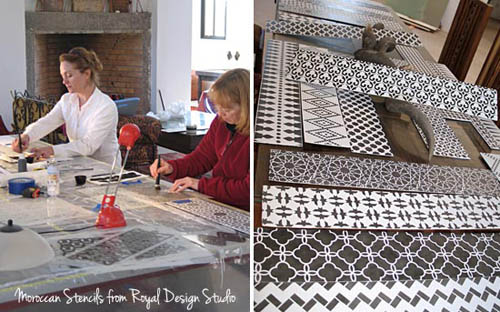 Stenciling Stair Risers