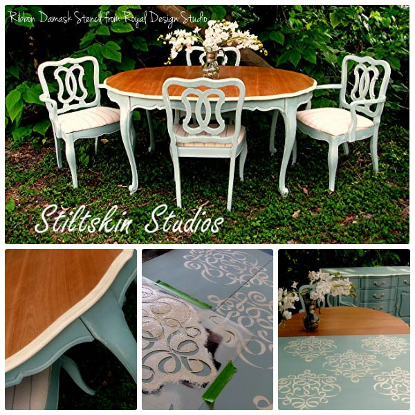Stenciling on Furniture with Chalk Paint® by Annie Sloan | Small Ribbon Damask Stencil by Royal Design Studio
