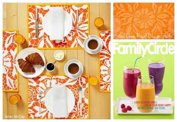 Stenciled-placemats-with-lace-stencils