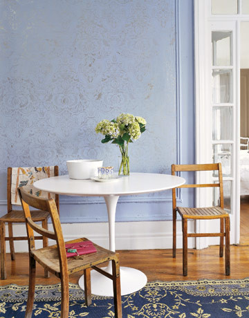 Stenciled Walls via Country Living | Fortuny Damask Stencil by Royal Design Studio