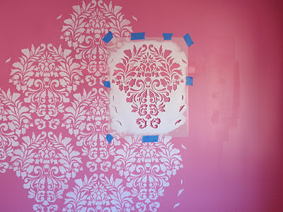 Girls' Bedroom Feature Wall | Large Fabric Damask Stencil by Royal Design Studio