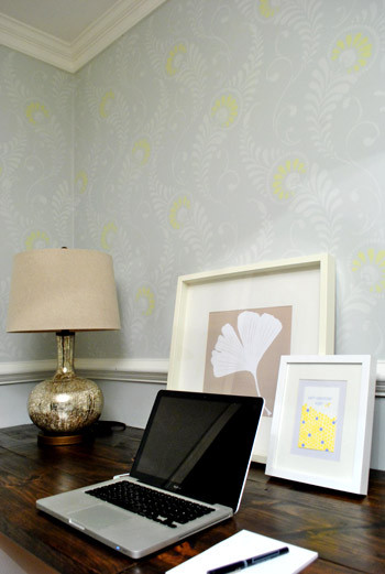 Stenciled Office via Young House Love | Feathered Damask Stencil by Royal Design Studio