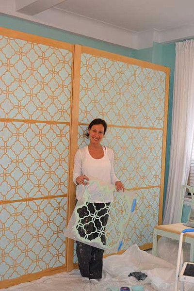 DIY Stenciled Armour Project via Nest by Tamara | Eastern Lattice Moroccan Stencil by Royal Design Studio
