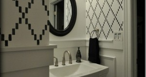 Nova Trellis Stenciled Bathroom Makeover