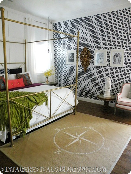 stenciled-feature-wall-bedroom-makeover
