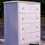 Stenciled Dresser is very Chi Chi!