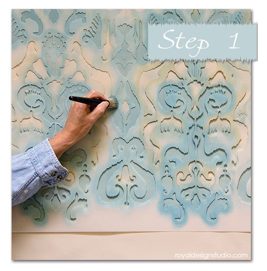 1-Ikat-wall-stencil-blue