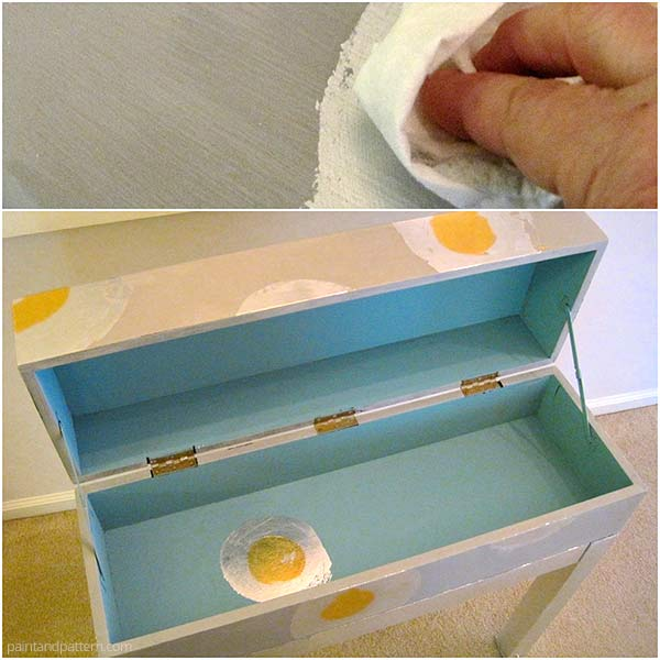 Waxing with Annie Sloan Soft Wax after painting and gilding furniture via Paint + Pattern