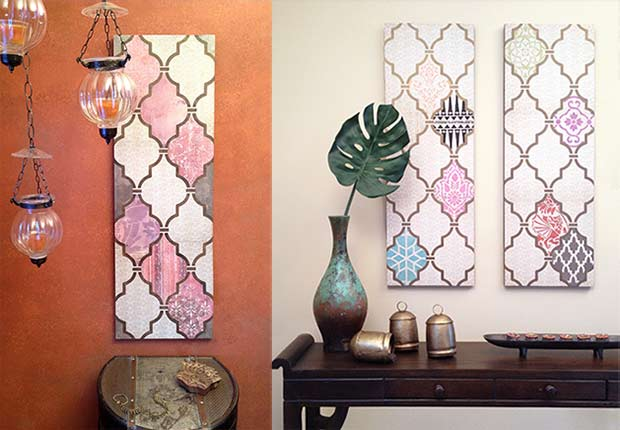 Diy Decoupage Wall Art Using Scrapbook Paper And Stencils