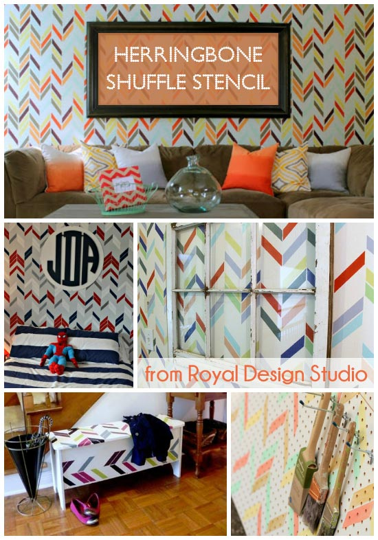 Herringbone wall stencil pattern with a modern twist | Royal Design Studio Stencils