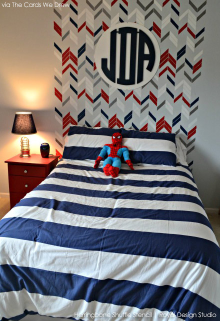 Stenciled Boys' Room Feature Wall | Herringbone Shuffle Stencil by Royal Design Studio