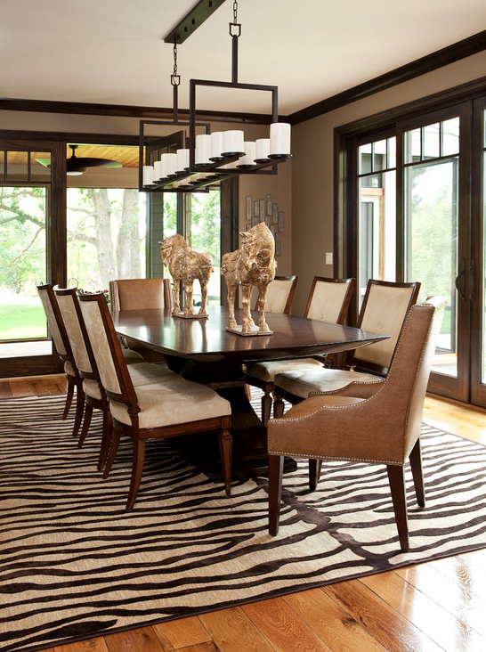 animal print - rug - pattern - zebra - trending - decor - dining room