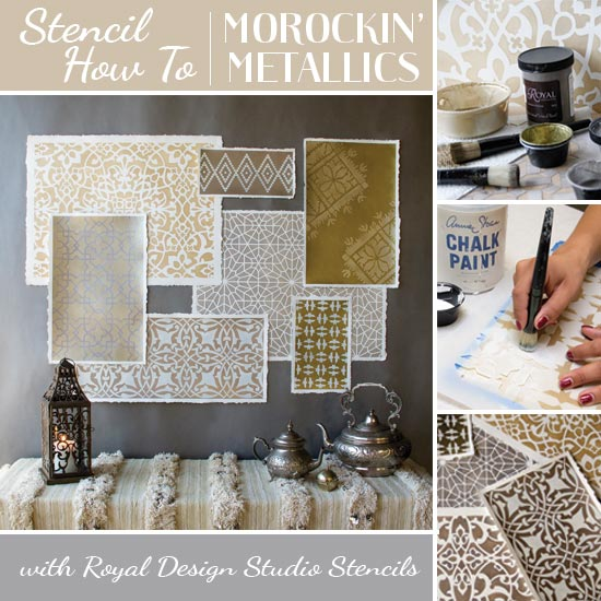 How to stencil Moroccan stencils with metallic paints for wall art