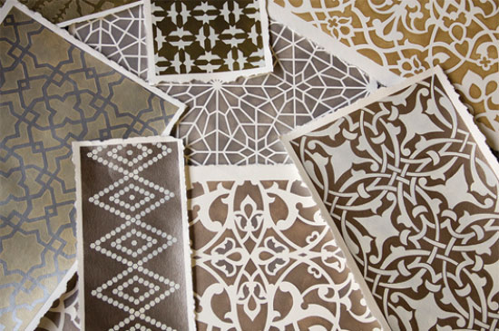 watercolor paper stenciled with Moroccan stencils and metallic paint