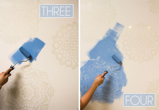 Roller-paint-stencil-on-wall-3