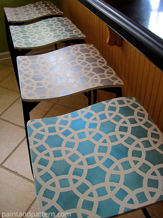 Stenciled Bar Stools before and after