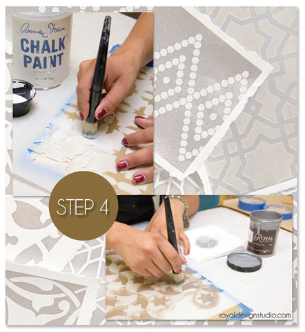 How to stencil Moroccan stenciled wall art