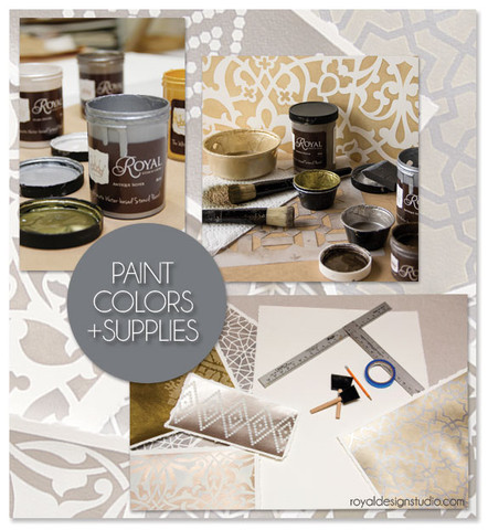 Stencil supplies for Moroccan stenciled wall art project