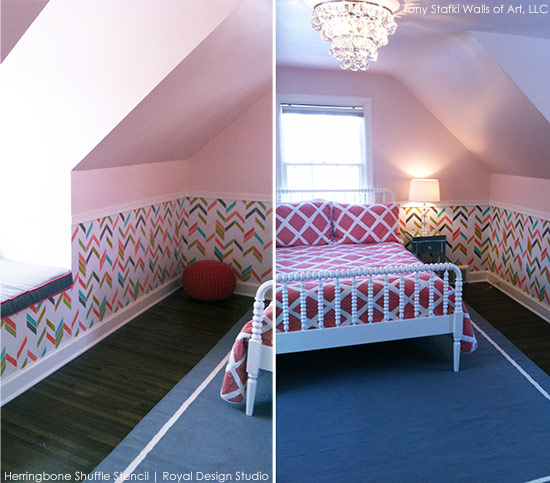 Stenciled Girl's Room | Herringbone Shuffle Stencil by Royal Design Studio