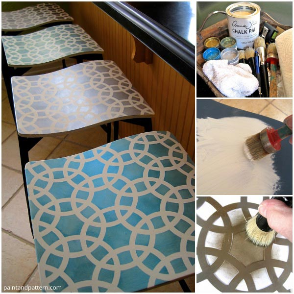 Stenciling Bar Stools project