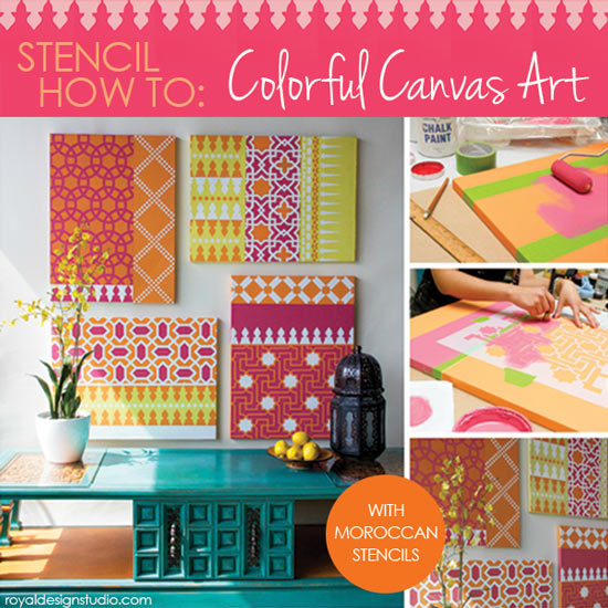 Stencil How To Colorful Moroccan Canvas Art Paint Pattern