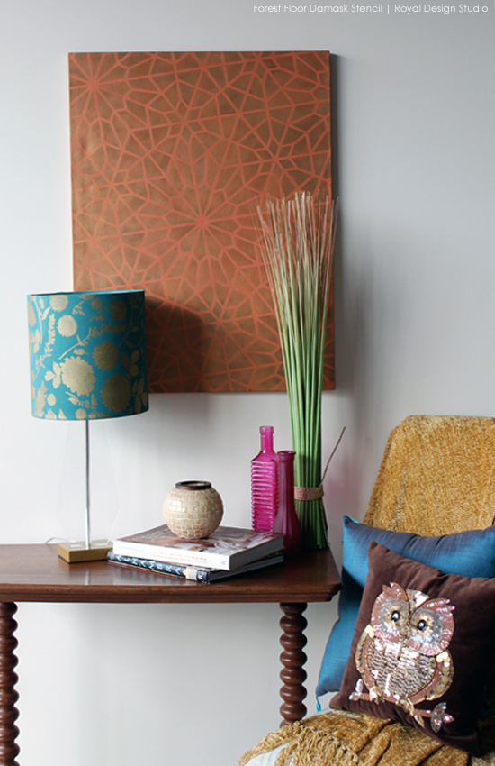 How to Stencil a Lampshade with Chalk Paint and Stencil Cremes. via Paint + Pattern
