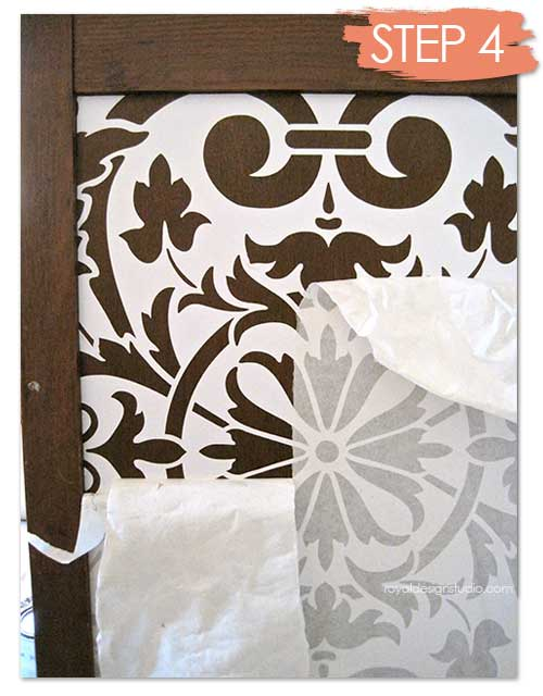 Transform a chest with chalk paint furniture stencils - Painting with stencils on wood ...