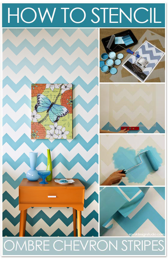 Stencil how to ombre chevron stripe pattern paint pattern for Chevron template for walls
