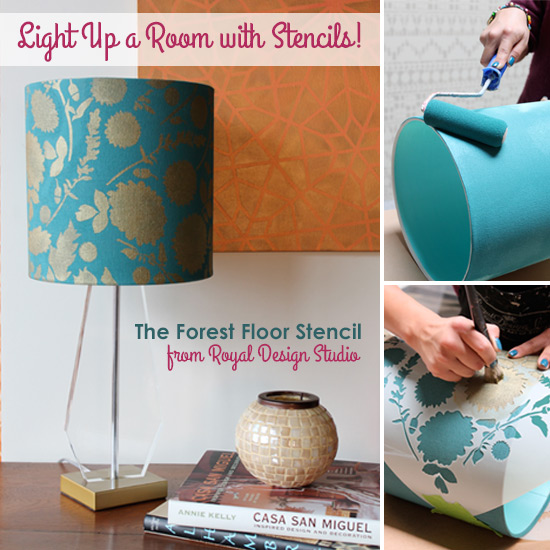 stencil how to stenciling a lampshade paint pattern. Black Bedroom Furniture Sets. Home Design Ideas