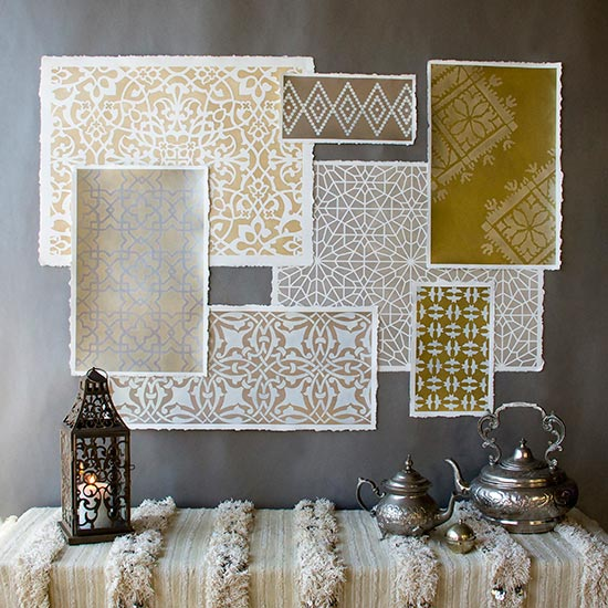 Moroccan stenciled wall art project on watercolor paper