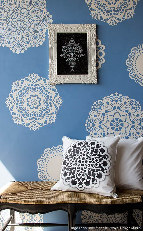 wall-stenciled-with-lace-doilies