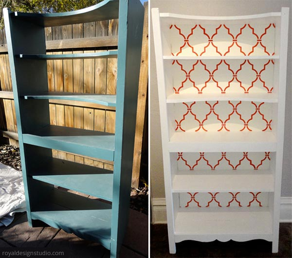 Furniture stenciling idea. Before and after on Paint + Pattern