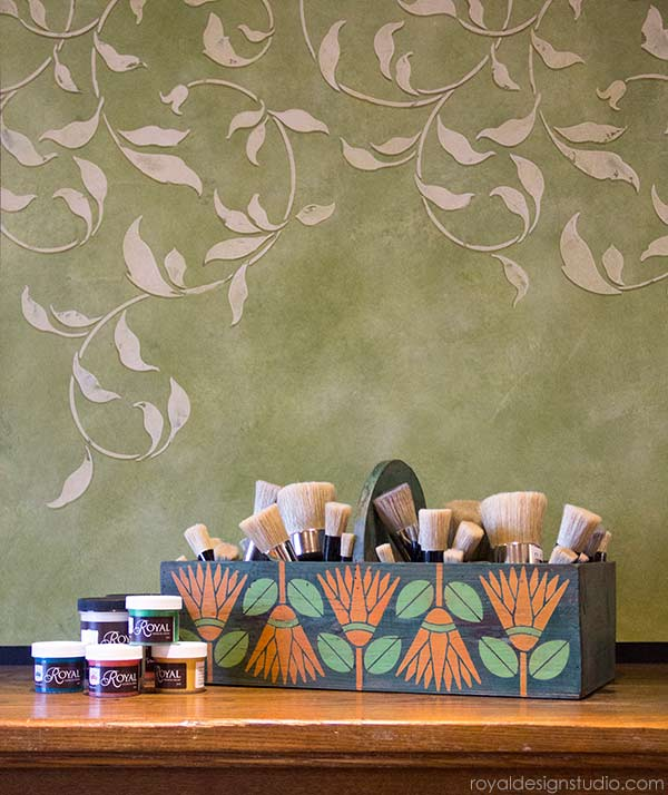 How to stencil: Using Chalk Paint and the Protea Flower stencil from Royal Design Studio