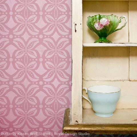 Stencil decorating idea. Butterfly Kisses stencil from Royal Design Studio