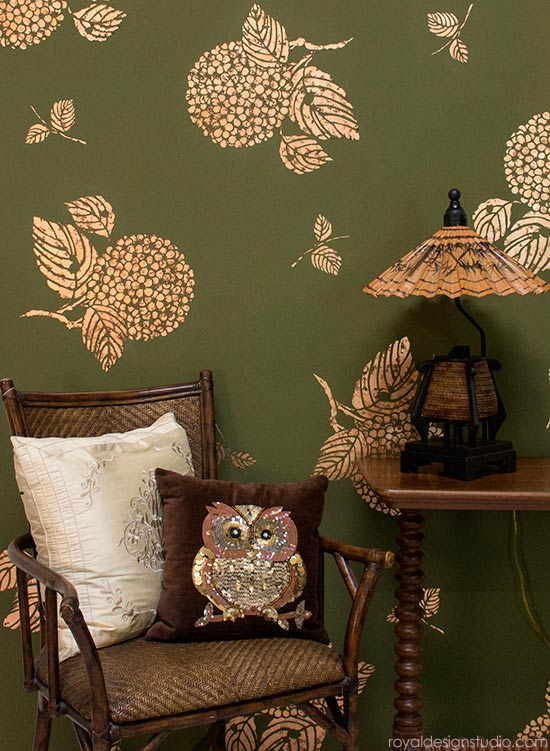 How to stencil with gilding and Royal Stencil Size from Royal Design Studio stencils